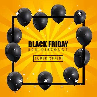 Banner de sexta-feira preta e cinquenta de desconto com decoração de hélio de balões