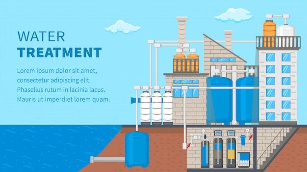 Banner de sistema de tratamento de água com espaço de texto