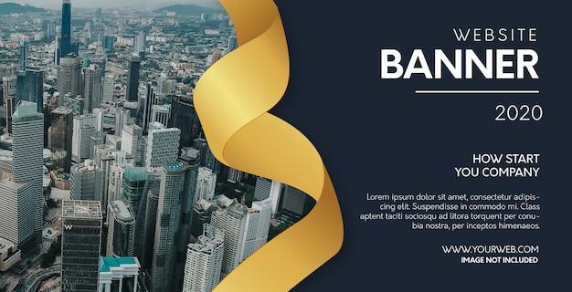 Banner de site moderno com fita dourada realista