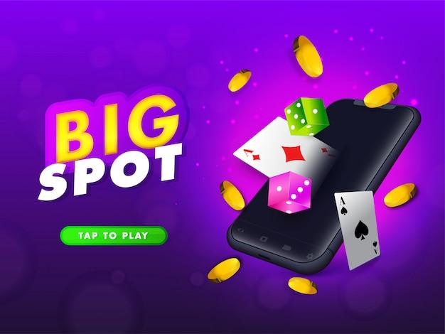 Banner de smartphone 3d com cartas de jogar.