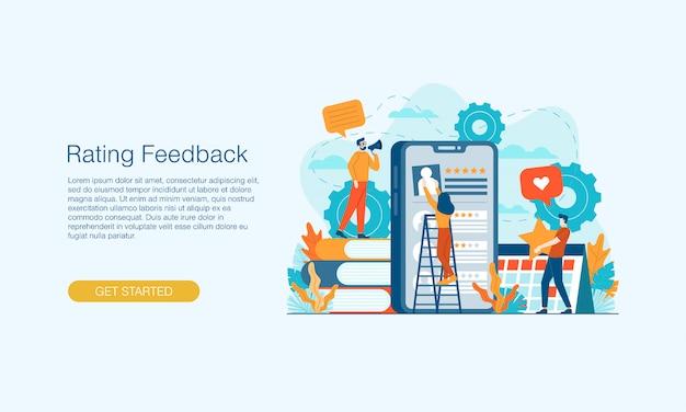 Banner de smartphone com feedback de classificação