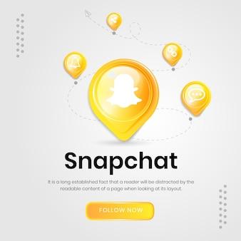 Banner de snapchat de ícones de mídia social