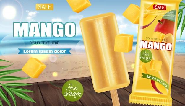 Banner de sorvete de manga
