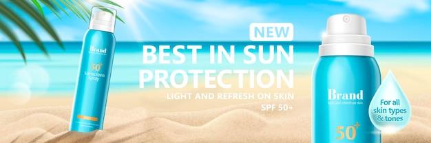 Banner de spray solar de verão no fundo da praia do resort