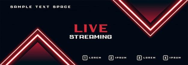 Banner de streaming ao vivo com linha de luzes de neon brilhantes