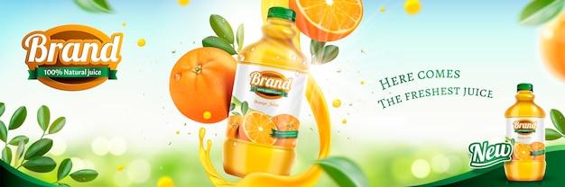 Banner de suco de laranja com frutas frescas e líquido giratório na superfície brilhante de bokeh em estilo 3d