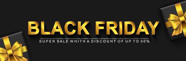 Banner de super venda black friday fundo escuro com texto dourado e presentes com laço