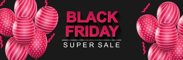 Banner de super venda black friday fundo horizontal preto com balões rosa e fitas