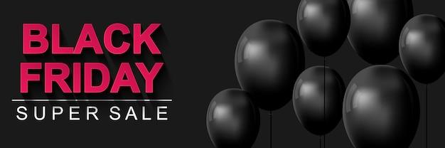 Banner de super venda black friday venda sazonal com desconto de preços cartaz horizontal com balões pretos