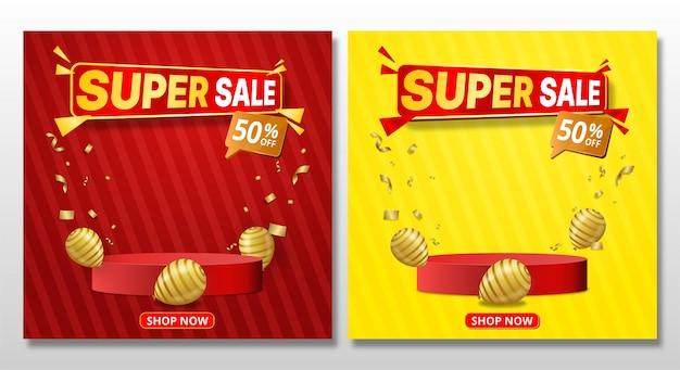 Banner de super venda com design de modelo de pódio e balão