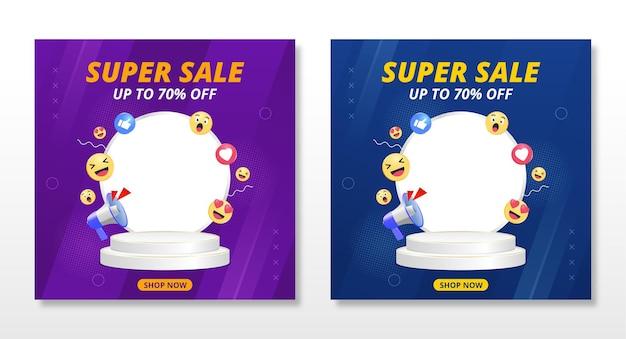 Banner de super venda com design de modelo de pódio e ícones emoji