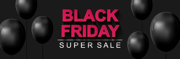 Banner de super venda da black friday cartaz horizontal com balões pretos em fundo escuro