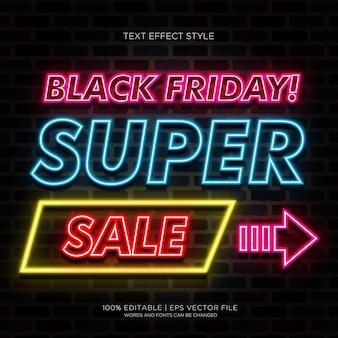 Banner de super venda da black friday com efeitos de texto em neon