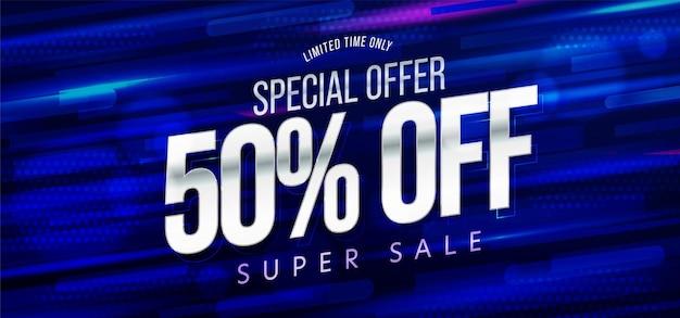 Banner de super venda de 50 por cento de oferta especial por tempo limitado