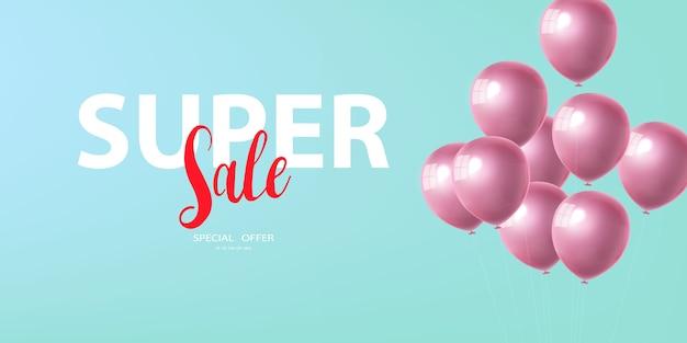 Banner de super venda de celebração com fundo de balões rosa. venda . grande saudação de luxo do cartão de inauguração rico.
