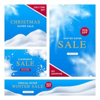 Banner de super venda de inverno com flocos de neve e colinas cobertas de neve no céu azul