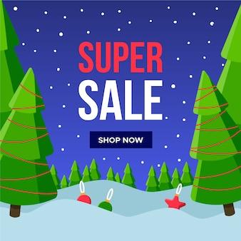 Banner de super venda de natal de design plano