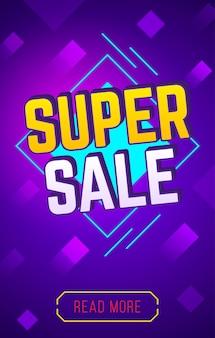 Banner de super venda para venda no site e banner de descontos