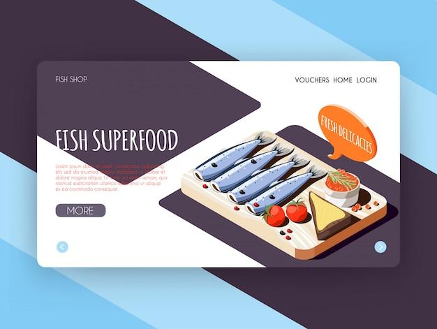Banner de superalimento de peixe para publicidade de loja on-line com ilustração vetorial isométrica de iguarias frescas