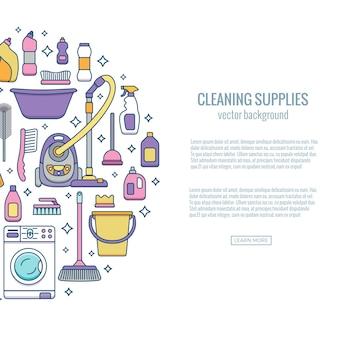 Banner de suprimentos de limpeza doméstica com elementos definidos em estilo simples de contorno.
