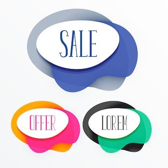 Banner de tags de venda colorido abstrato