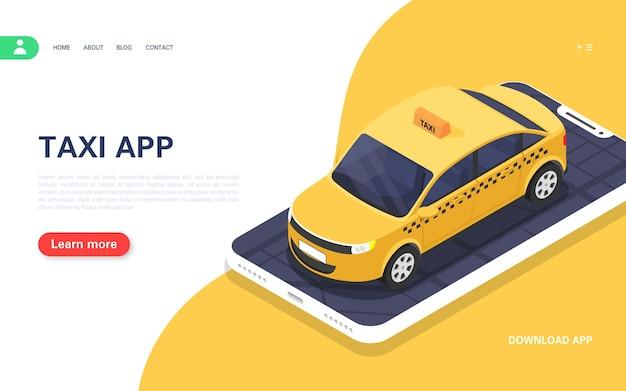 Banner de táxi. aplicativo móvel para pedidos de táxi on-line 24 horas por dia. ilustração isométrica do vetor.