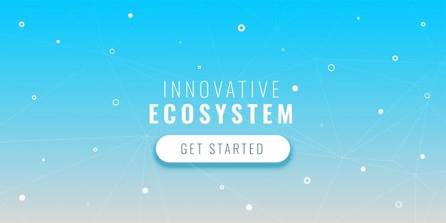 Banner de tecnologia azul com pontos e linhas conectadas