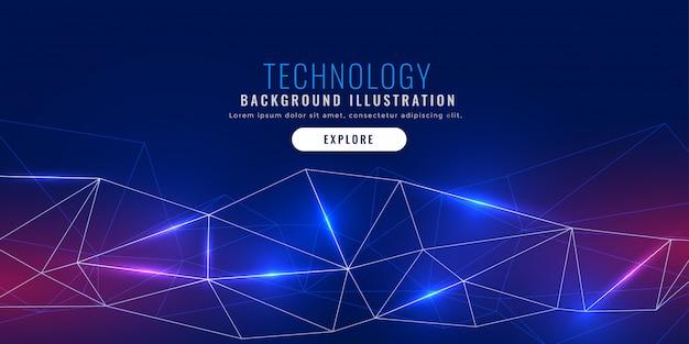 Banner de tecnologia com conexão de linhas de rede