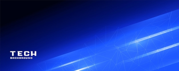 Banner de tecnologia de linhas brilhantes azuis brilhantes