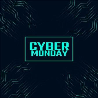 Banner de tecnologia digital cyber segunda-feira elegante