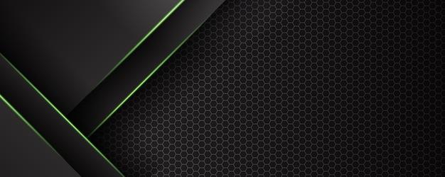 Banner de tecnologia futurista com luz verde abstrata