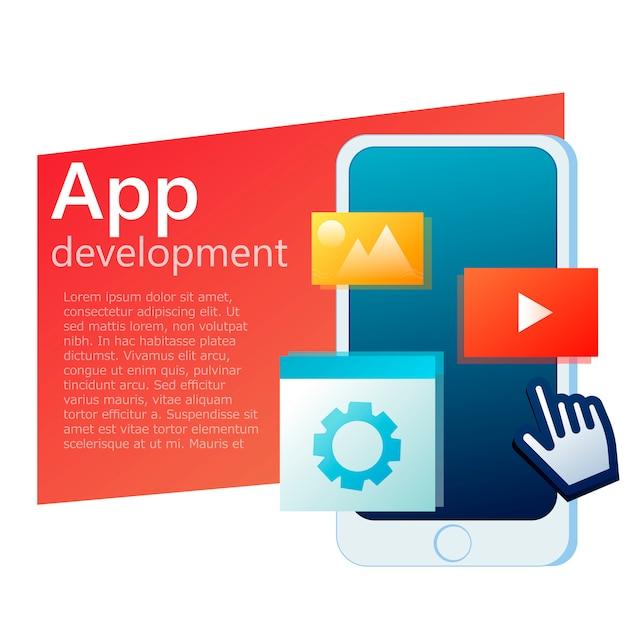 Banner de telefone móvel de design de interface do usuário app