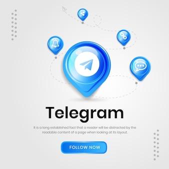 Banner de telegrama de ícones de mídia social