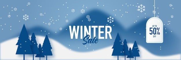Banner de tema azul de inverno e feliz natal ou fundo de convite de festa com palmeira, floco de neve, neve e nuvens.