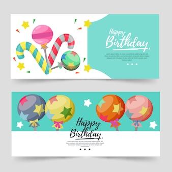 Banner de tema de aniversário com cor turquesa e doces
