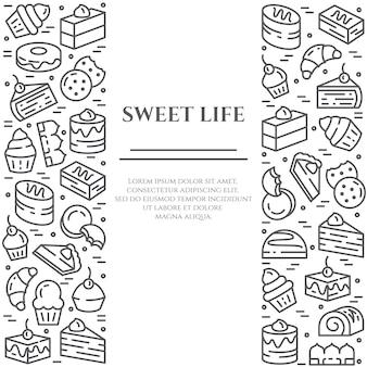 Banner de tema de bolos e biscoitos.