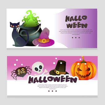Banner de tema de halloween com pote mágico