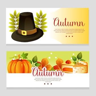 Banner de tema outono bonito com chapéu de outono