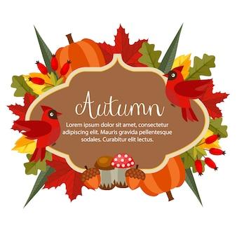 Banner de tema outono com estilo simples