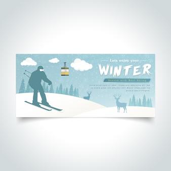 Banner de temporada de inverno de silhoutte de homem de esqui