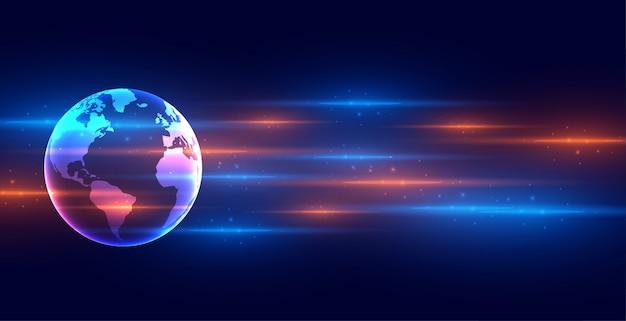 Banner de terra de tecnologia digital com faixas de luz