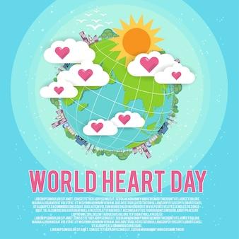 Banner de terra e corações com o conceito de dia mundial do coração.