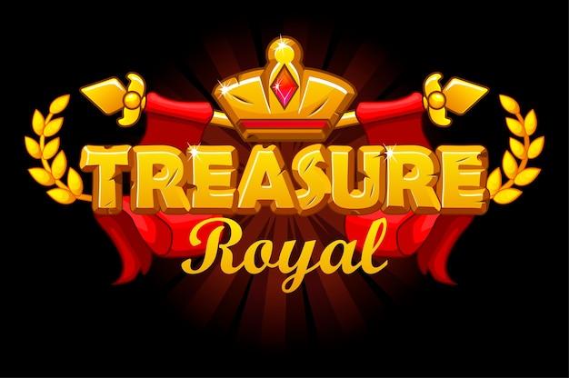 Banner de tesouros reais com coroa dourada e logotipo.