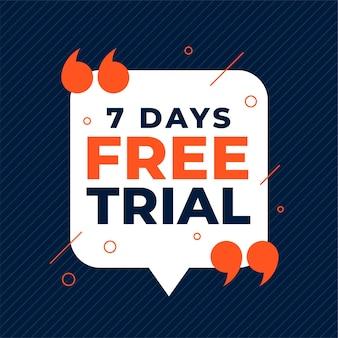 Banner de teste gratuito de 7 dias com aspas