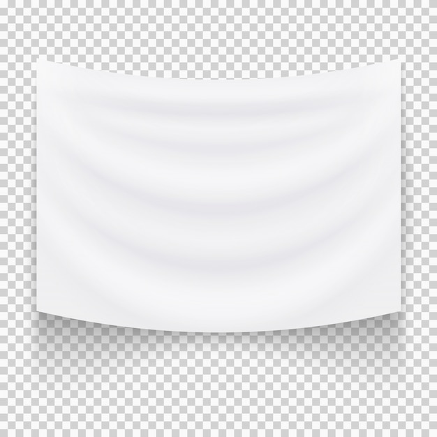 Banner de têxtil branco vazio de suspensão