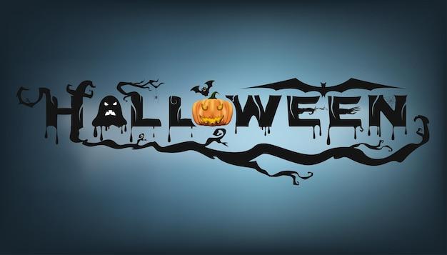 Banner de texto abstrato feliz festa de halloween, texto de modelo para festa de halloween. ilustração vetorial