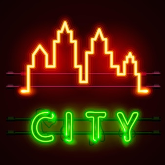 Banner de texto de cidade de néon, forma de cidade. ilustração vetorial