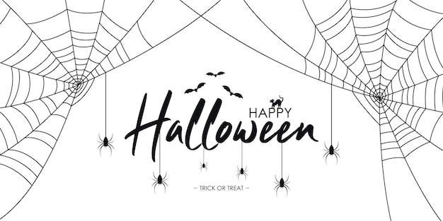 Banner de texto de feliz dia das bruxas com aranhas, morcego e gato