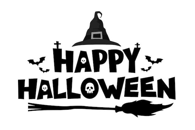 Banner de texto de feliz dia das bruxas. ilustração em vetor de letras decoradas com elementos tradicionais.