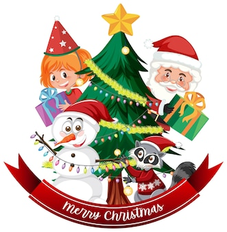 Banner de texto de feliz natal com papai noel e árvore de natal